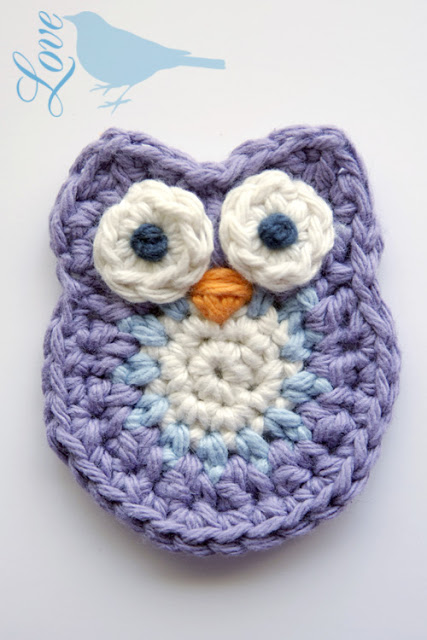 Owl Applique Crochet Pattern from lovethebluebird.blogspot.ca