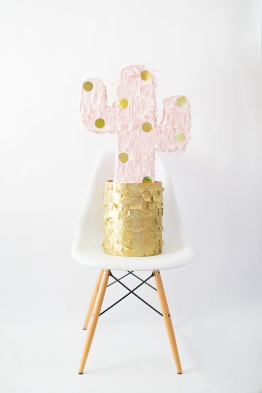 DIY Pink & Gold Polka Dot Cactus Piñata