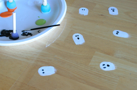 Painted Gift Wrap Ghosts