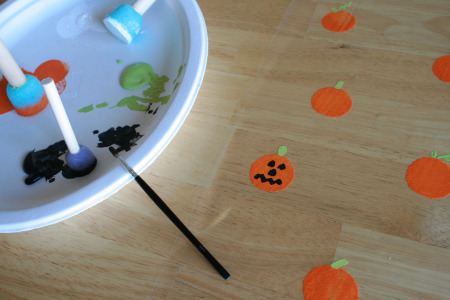 Painted Gift Wrap Pumpkins