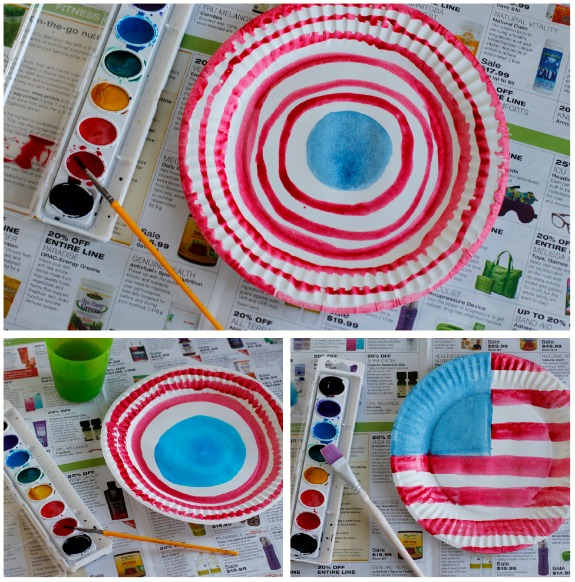 Painting Watercolor Paper Plates with Red, White, and Blue
