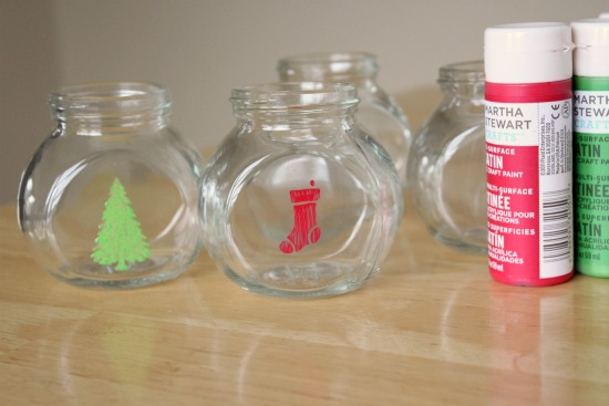 Holiday Stenciled Treat Jars For Neighbor Gifts