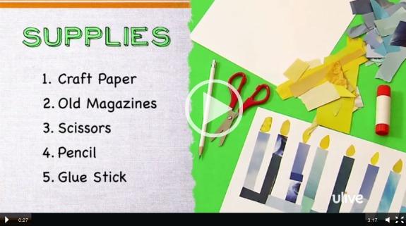 Paper Menorah Hanukkah Video @makeandtakes.com