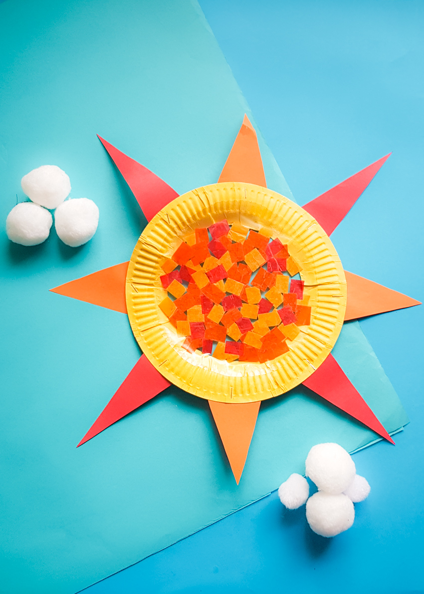 Colorful And Bright Paper Plate Suncatcher Craft Make And Takes