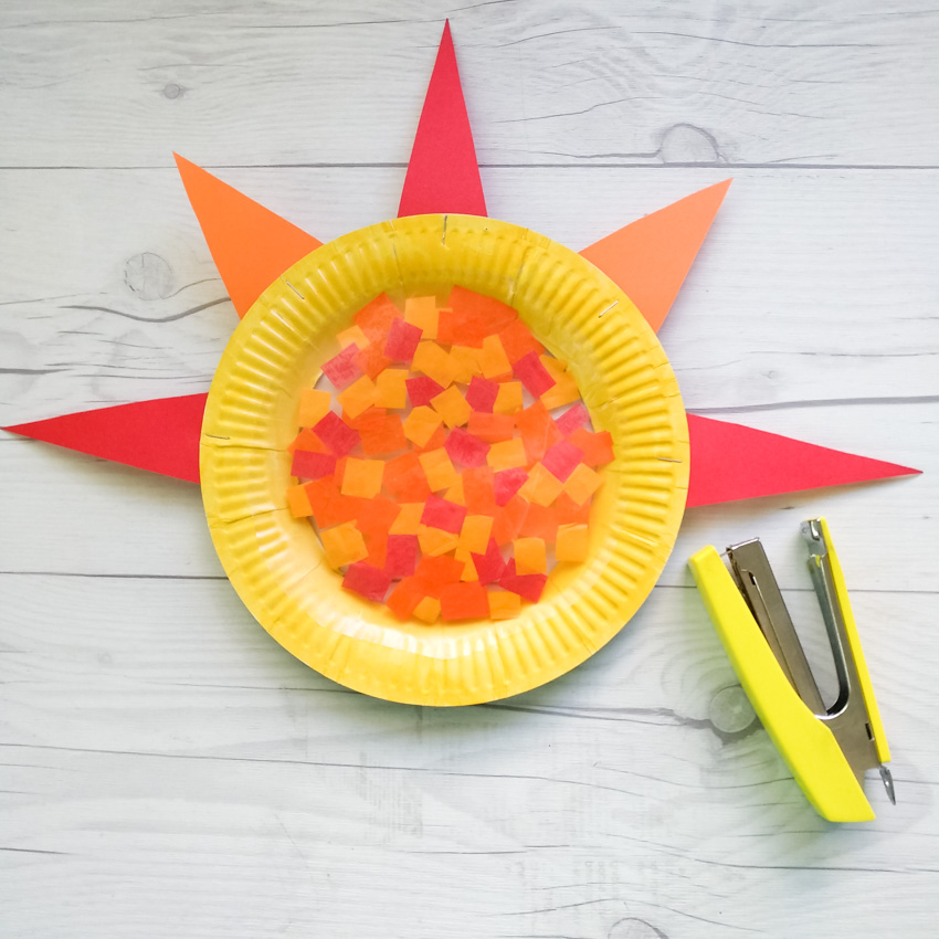 Colorful and Bright Paper Plate Suncatcher Craft