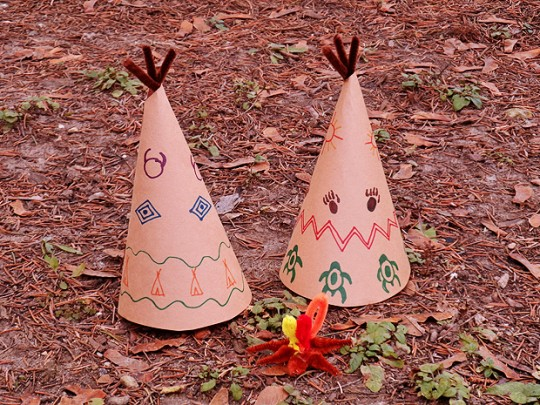 Paper Teepee Decorations for Thanksgiving