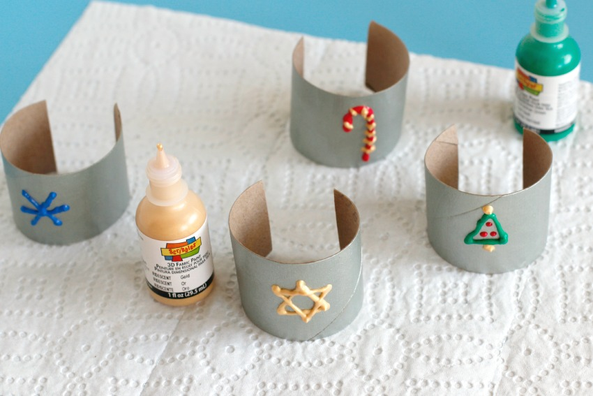 Paper Tube Napkin Holders Painting Shapes