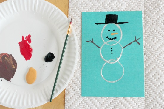 Paper Tube Stamped Snowman