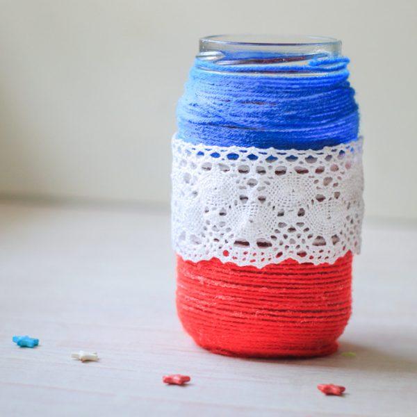 Patriotic Yarn Wrapped Jars Craft