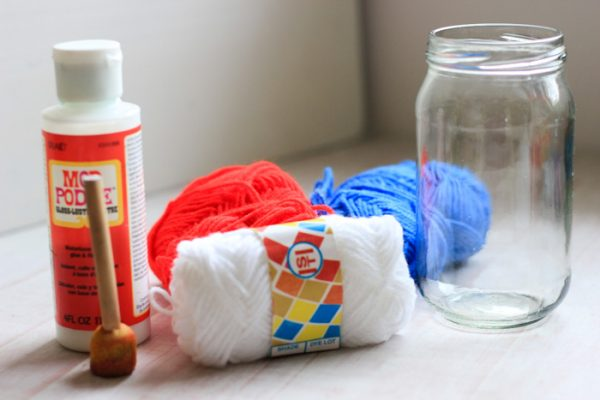 Patriotic Yarn Wrapped Jars Craft Supplies