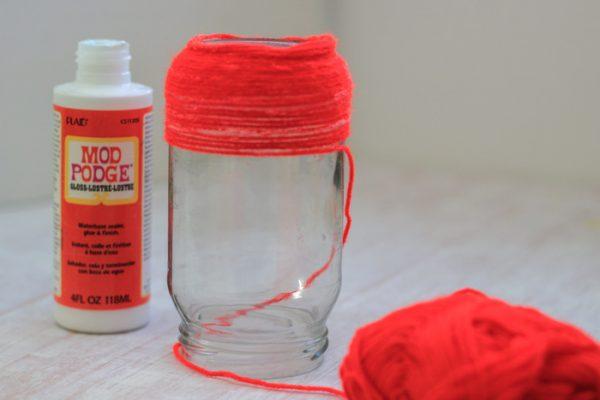 Patriotic Yarn Wrapped Jars Craft Tutorials