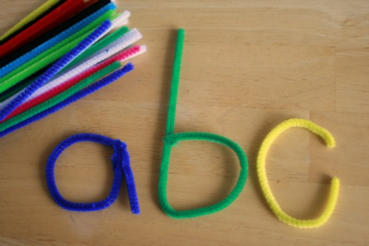 learning letters with pipe cleaners make and takes