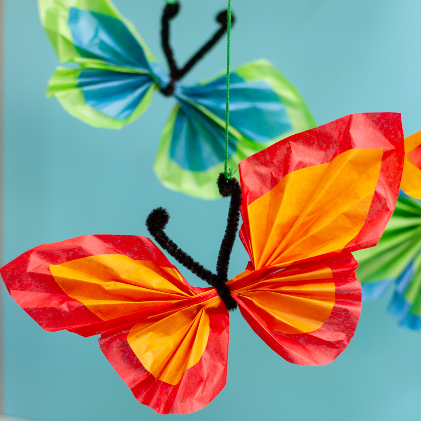 Tissue Paper Butterfly Mobile Craft Make And Takes