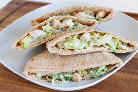 Pita Pockets with Chicken Caesar Salad