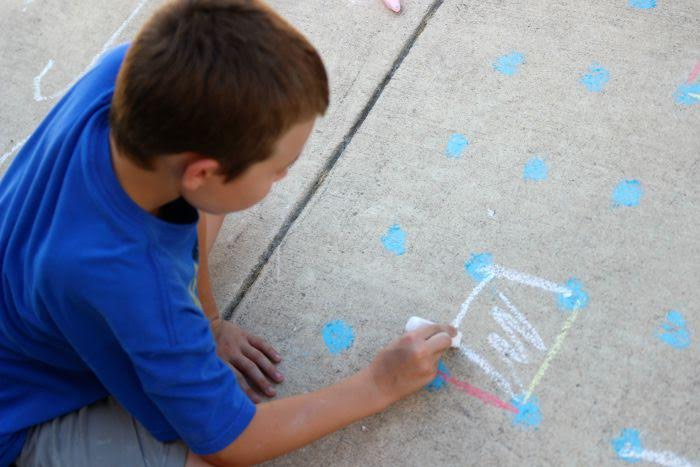 Playing Sidewalk Chalk Games for Kids- Dots and Boxes