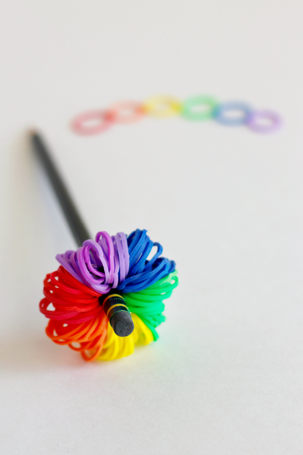 Pom Pom Pencil Toppers with Rainbow Loom Bands