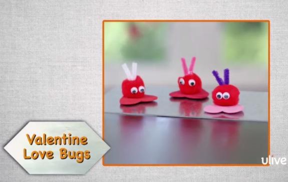 Pom Pom Valentine Lovebug Magnets @makeandtakes.com