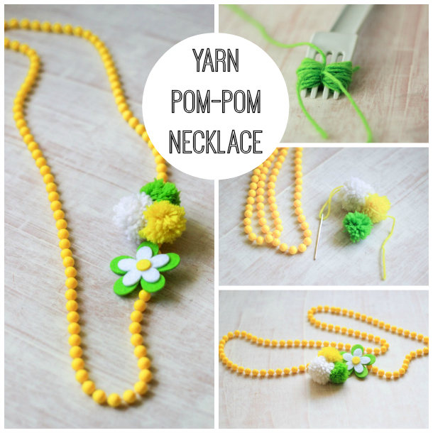 Make this DIY Pom Pom Yarn Necklace