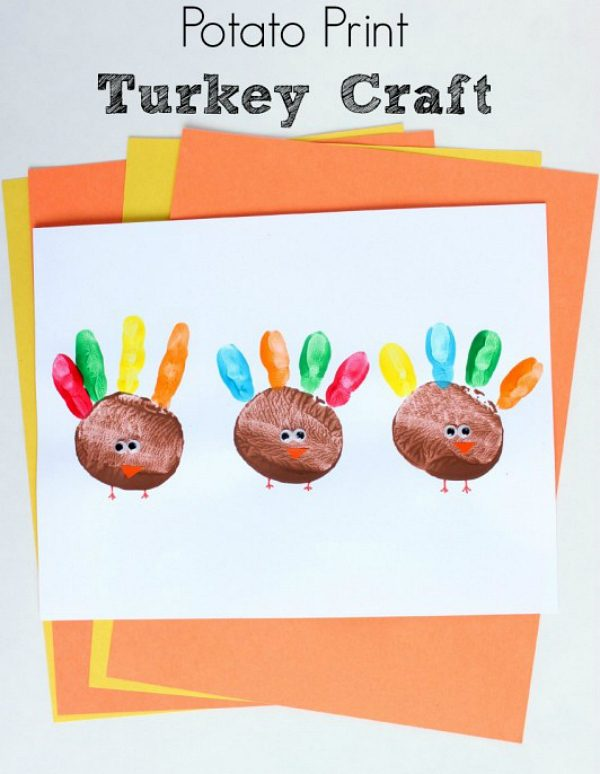 graphic relating to Printable Turkey Craft identified as Potato Print Turkey Craft Create and Can take