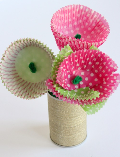 Pretty Cupcake Liner Flower Craft