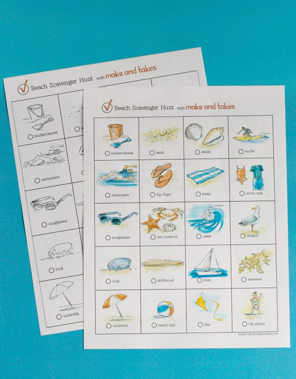 Printable for a Beach Day Scavenger Hunt
