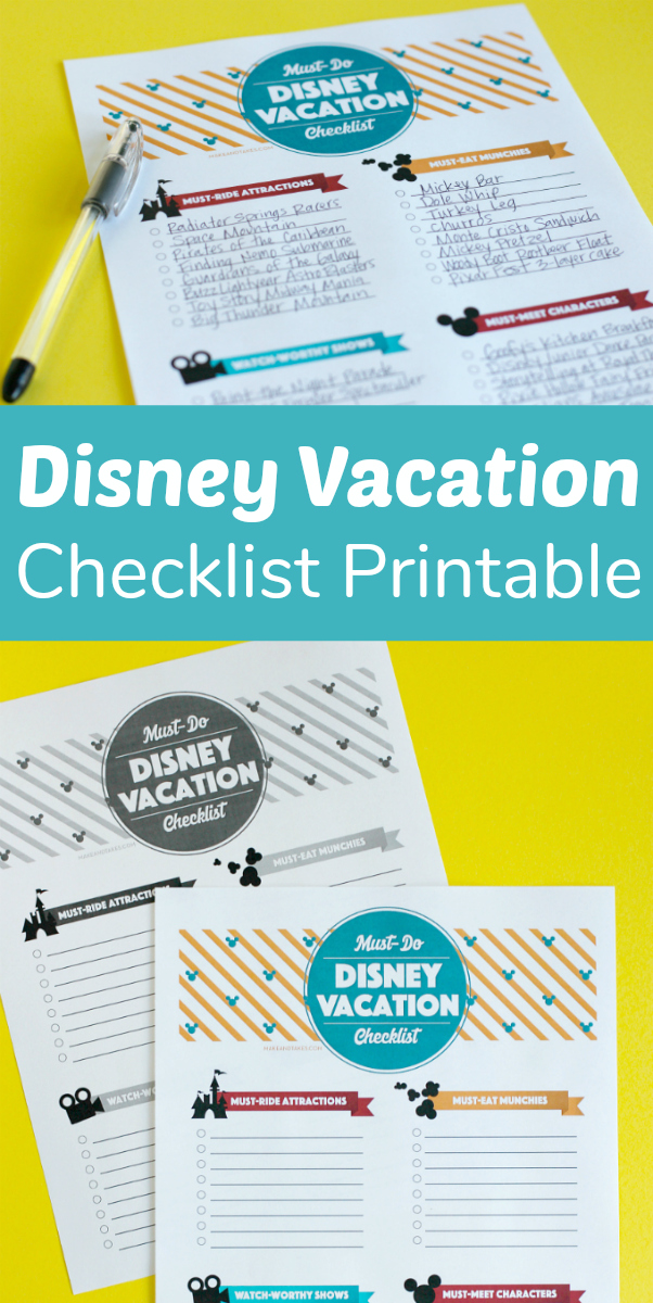 Printable Disney Vacation Checklist for Families