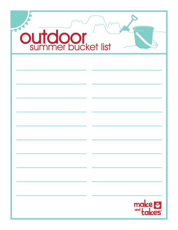 Printable Outdoor Summer Bucket List