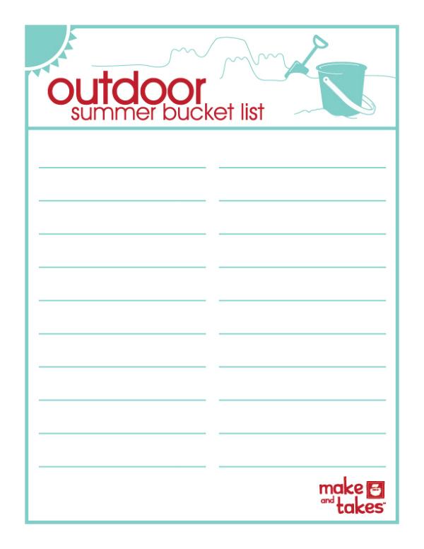 Printable Outdoor Summer Bucket List