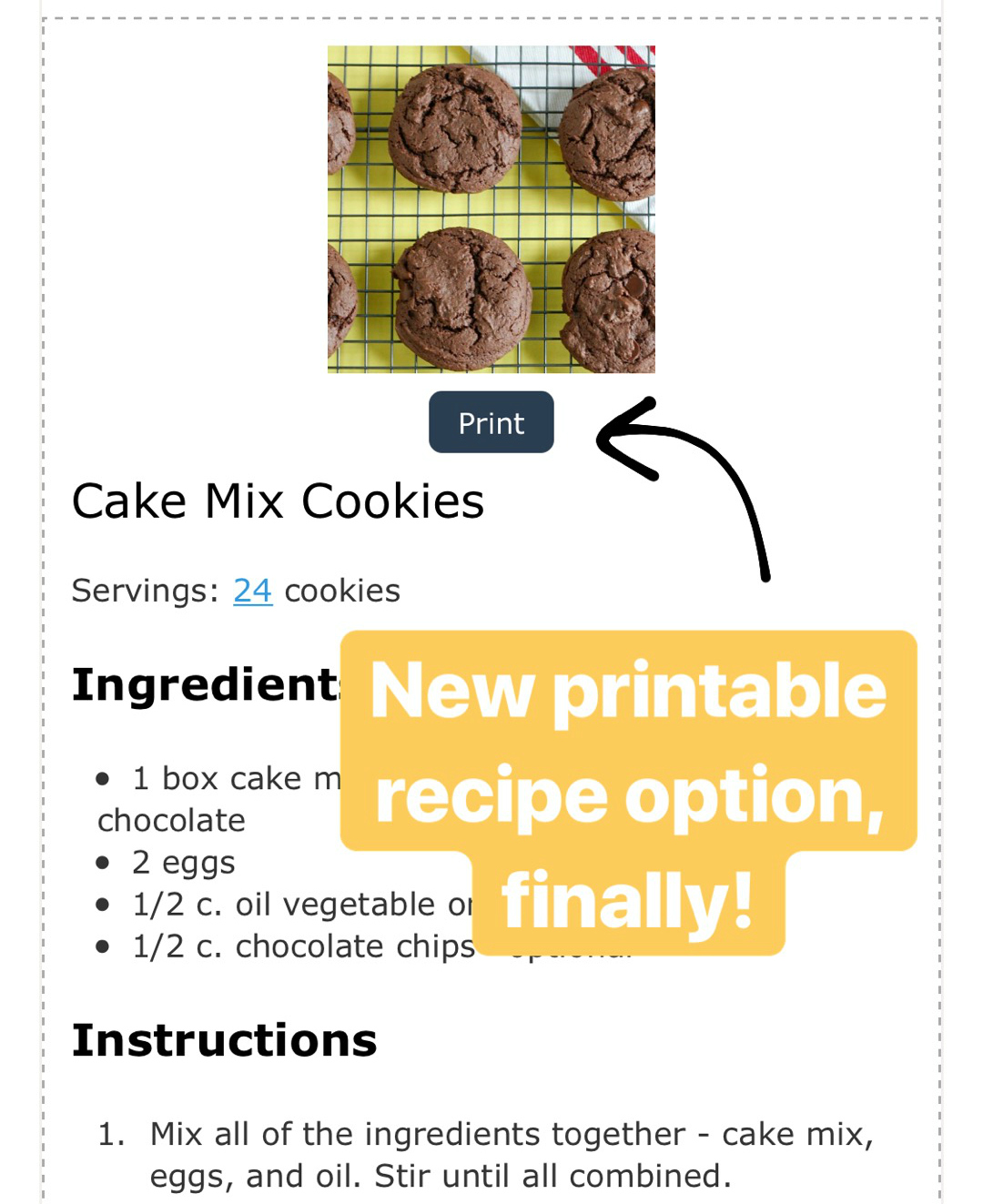 Printable Recipe Option on @makeandtakes