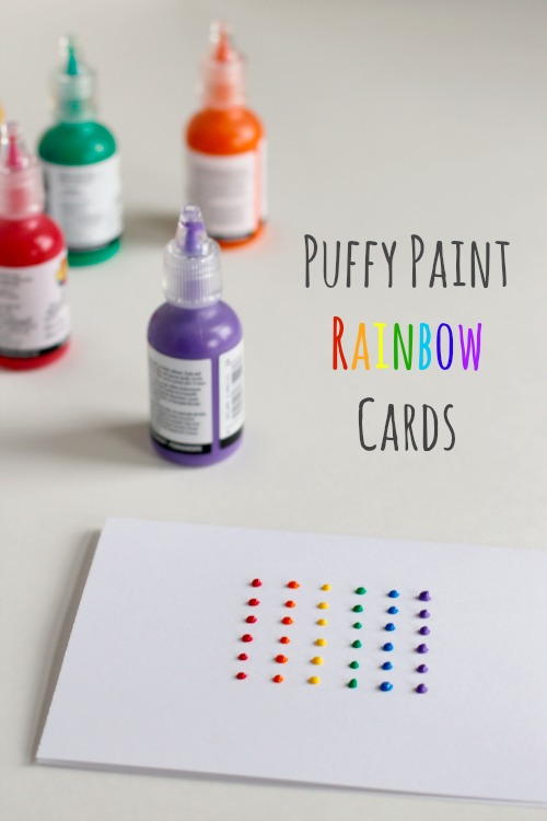 Puffy Paint Rainbow Cards makeandtakes.com
