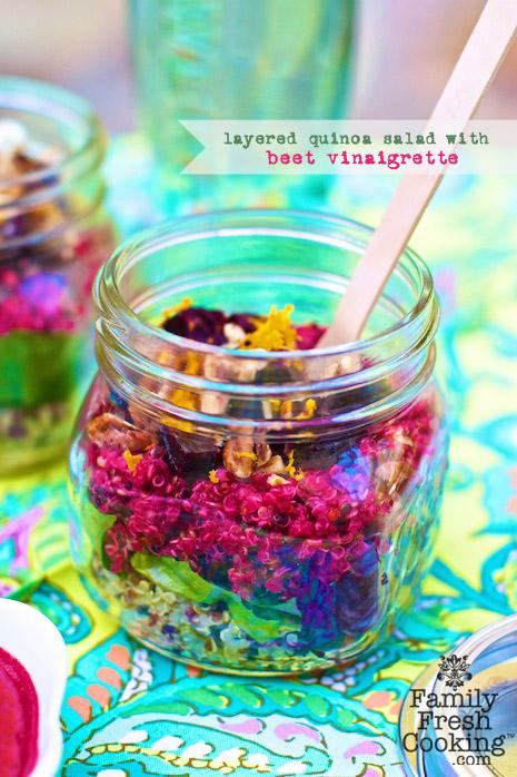 Quinoa Beet Mason Jar Salad