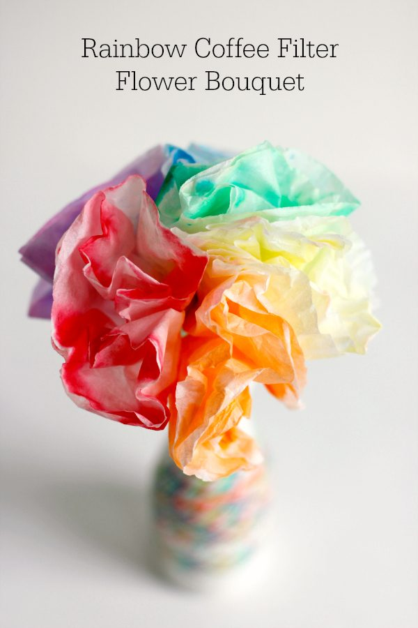Rainbow Coffee Filter Flower Bouquets