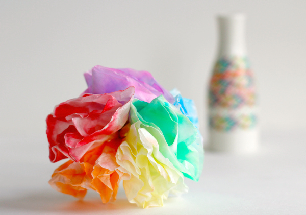 Rainbow Coffee Filter Flower Bouquets to Make