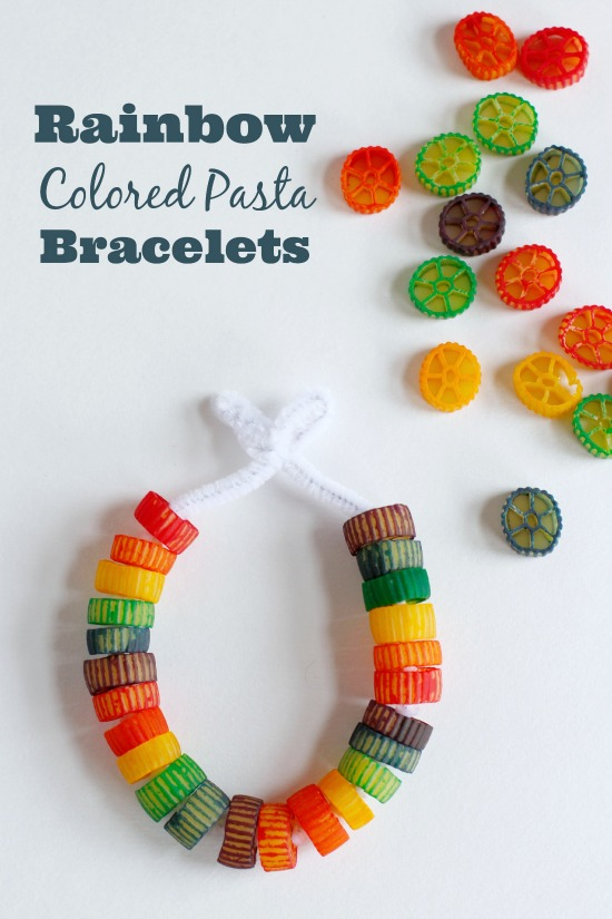 Rainbow Colored Pasta Bracelets Make And Takes