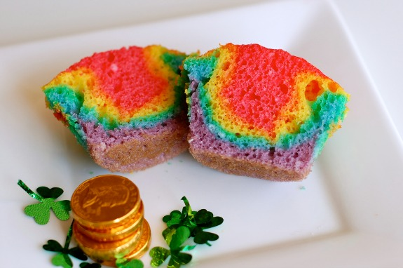 Rainbow Cupcake Batter Baked for St. Patrick's Day