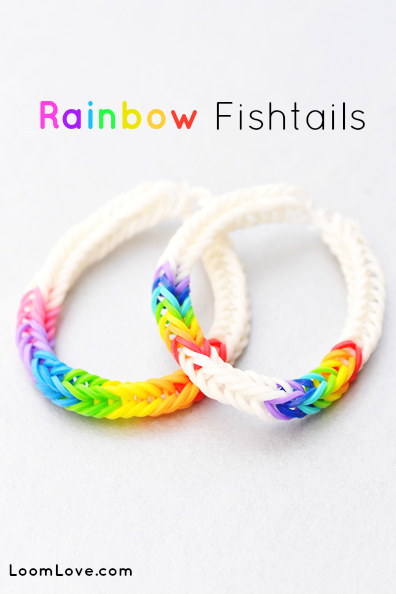 Rainbow Fishtail Loom Pattern from loomlove.com