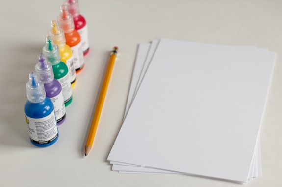 Rainbow Puff Paint Cards Supplies