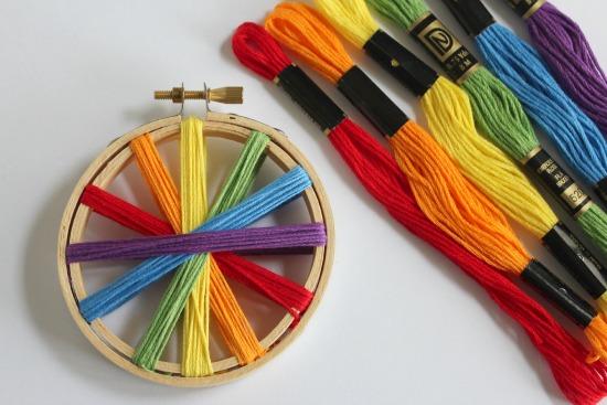 Rainbow Thread Embroidery Hoop Craft