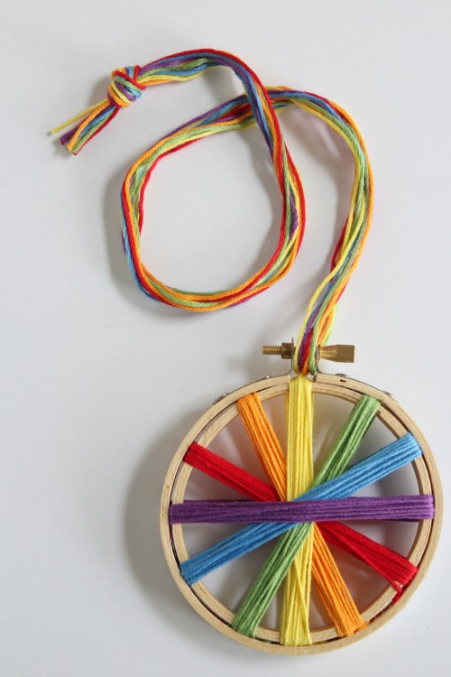Rainbow Thread Embroidery Hoop makeandtakes.com