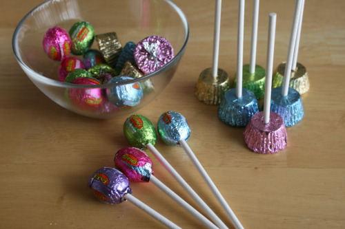 Easter Candy Made Into Lollipop Flowers