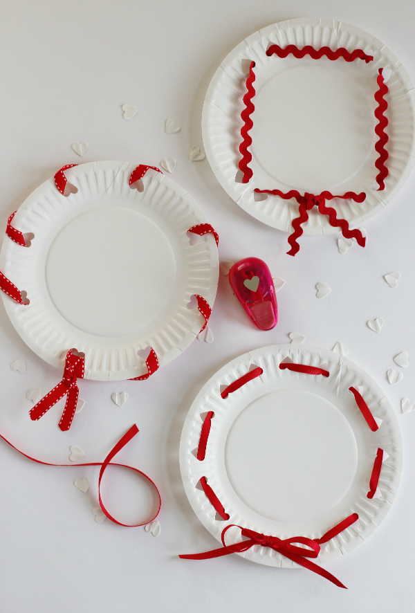 Ribbon Wrapped Valentine's Day Heart Punched Plates