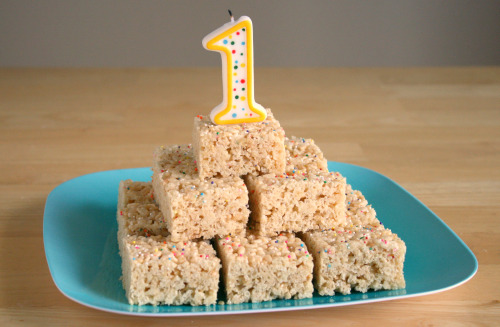 Rice Crispy Treat Birthday Cake