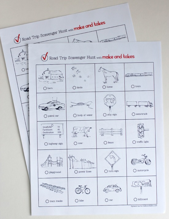 Road Trip Scavenger Hunt Printable for Kids