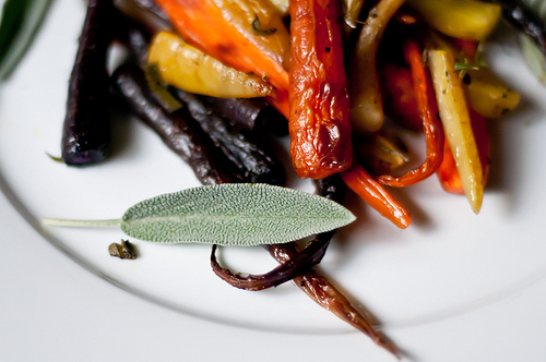 Roasted Baby Carrots with Sage, Rosemary and Thyme