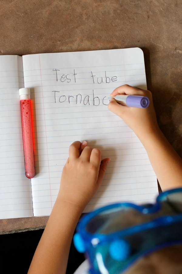 Science Experiment Notes for a Test Tube Tornado Kids Craft