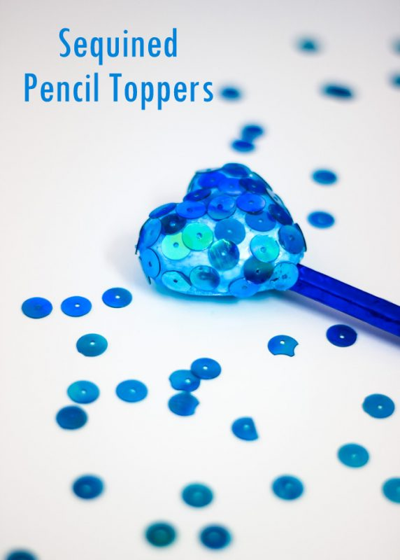 A simple, tutorial to make Sequined Styrofoam Heart Pencil Toppers. A great kid craft for Valentine's day and beyond! Guest post by ArtsyCraftsyMom for Makeandtakes.com