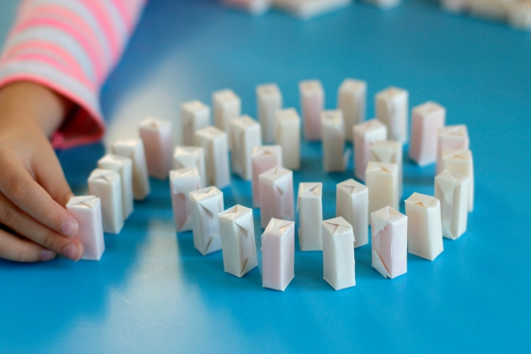 Setting Up Hi-Chew Candy Dominoes