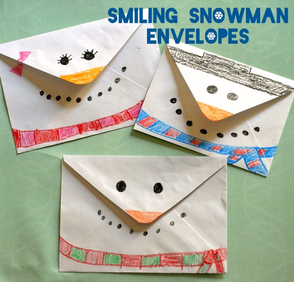 Smiling Snowman Envelope Craft for Kids