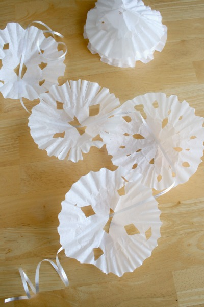 Coffee Filter Snowflakes on a String