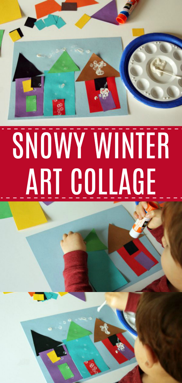 Snowy Winter House Art Collage
